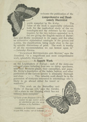 Advert For European Moths and Butterflies by W. F. Kirby reverse